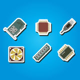 Set of color icons with computer hardware and components Stock Photo