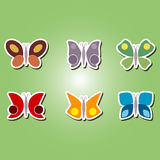 Set of color icons with different butterflies Stock Image