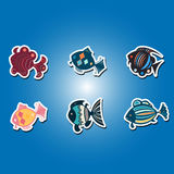 Set of color icons with   different fish Stock Photos