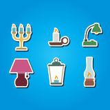 Set of color icons with different lamps Stock Photography