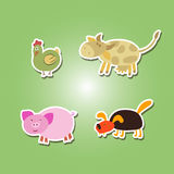 Set of color icons with domestic animal kids drawing Stock Images
