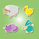 Set of color icons with domestic animal kids drawing. For your design Royalty Free Stock Photography