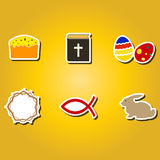 Set of color icons with easter symbols Royalty Free Stock Images