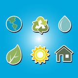 Set of color icons with  Ecology  symbols Royalty Free Stock Images