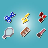 Set of color icons with female stuff Stock Image
