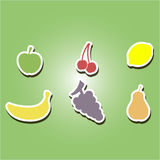 Set of color icons with fruits Royalty Free Stock Photo