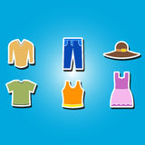 Set of color icons with  garments Stock Image