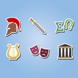 Set of color icons with  greece symbols Royalty Free Stock Photos