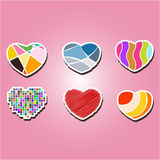 Set of color icons with hearts Royalty Free Stock Image