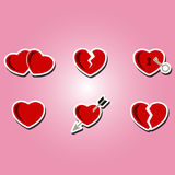 Set of color icons with hearts Stock Photo