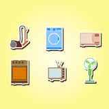 Set of color icons with home technics Stock Image