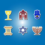 Set of color icons with  jewish symbols Stock Photo
