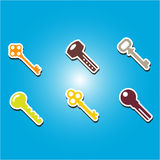 Set of color icons with keys Stock Photography