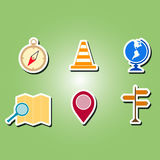 Set of color icons with map and location sign Stock Images