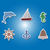 Set of color icons with marine recreation symbols Royalty Free Stock Image
