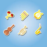 Set of color icons with musical instruments Royalty Free Stock Photos