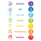 Set of color icons with  names of chakras in Sanskrit Stock Photography