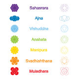 Set of color icons with  names of chakras in Sanskrit Royalty Free Stock Photos