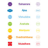Set of color icons with  names of chakras in Sanskrit Stock Photo