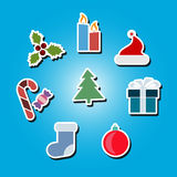Set of color icons with New Year and Christmas symbols Stock Photography
