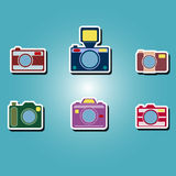 Set of color icons with photo camera symbols Stock Images