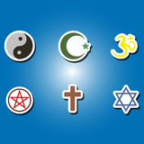 Set of color icons with religious symbols Stock Photo