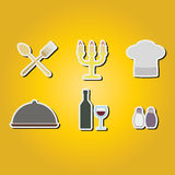Set of color icons with restaurant symbols Royalty Free Stock Image