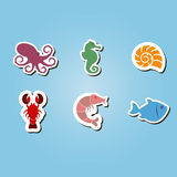 Set of color icons with sea food and products Stock Images