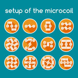 Set of color icons. Setup of the microcoil. Royalty Free Stock Photo