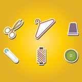 Set of color icons with sewing symbols Royalty Free Stock Photography