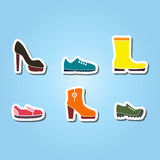 Set of color icons with shoes Stock Image