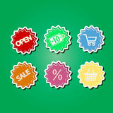 Set of color icons with shopping icons Stock Photos