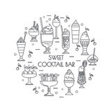 Set of color icons of sweet cocktails, desserts, ice cream. Set of color icons of sweet cocktails, desserts, ice cream for menu book illustration, stickers or Stock Photography