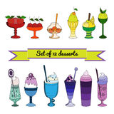 Set of color icons of sweet cocktails, desserts, ice cream. Royalty Free Stock Images