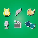 Set of color icons with  symbols of art Stock Photos