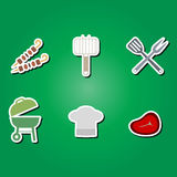 Set of color icons with symbols of barbecue Royalty Free Stock Photography