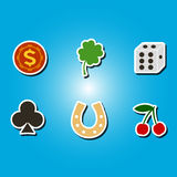 Set of color icons with symbols of gambling Royalty Free Stock Image