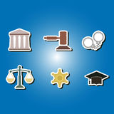 Set of color icons with symbols of law and courts Royalty Free Stock Image