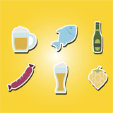 Set of color icons with  symbols of production and consumption of beer Royalty Free Stock Images