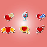 Set of color icons with symbols of Valentine's Day Stock Photo