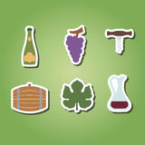 Set of color icons with symbols of wine making Stock Photos