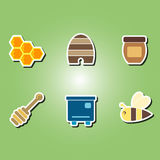 Set of color icons with the theme of beekeeping Stock Images