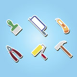 Set of color icons with tools related Royalty Free Stock Image
