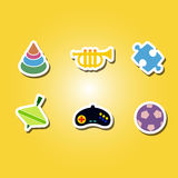 set of color icons with toys Royalty Free Stock Image
