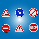 Set of color icons with traffic signs Royalty Free Stock Photography