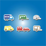 Set of color icons with trailers Royalty Free Stock Photography