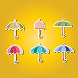 Set of color icons with umbrellas Stock Image