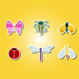 Set of color icons with various insects Stock Images