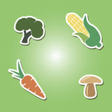 Set of color icons with vegetables Stock Photos