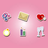 Set of color icons with wedding theme Royalty Free Stock Image